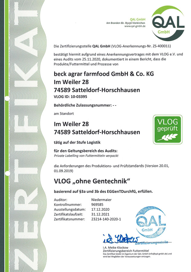 "QAL Zertifikat beckagrar VLOG ""ohne Gentechnik"""